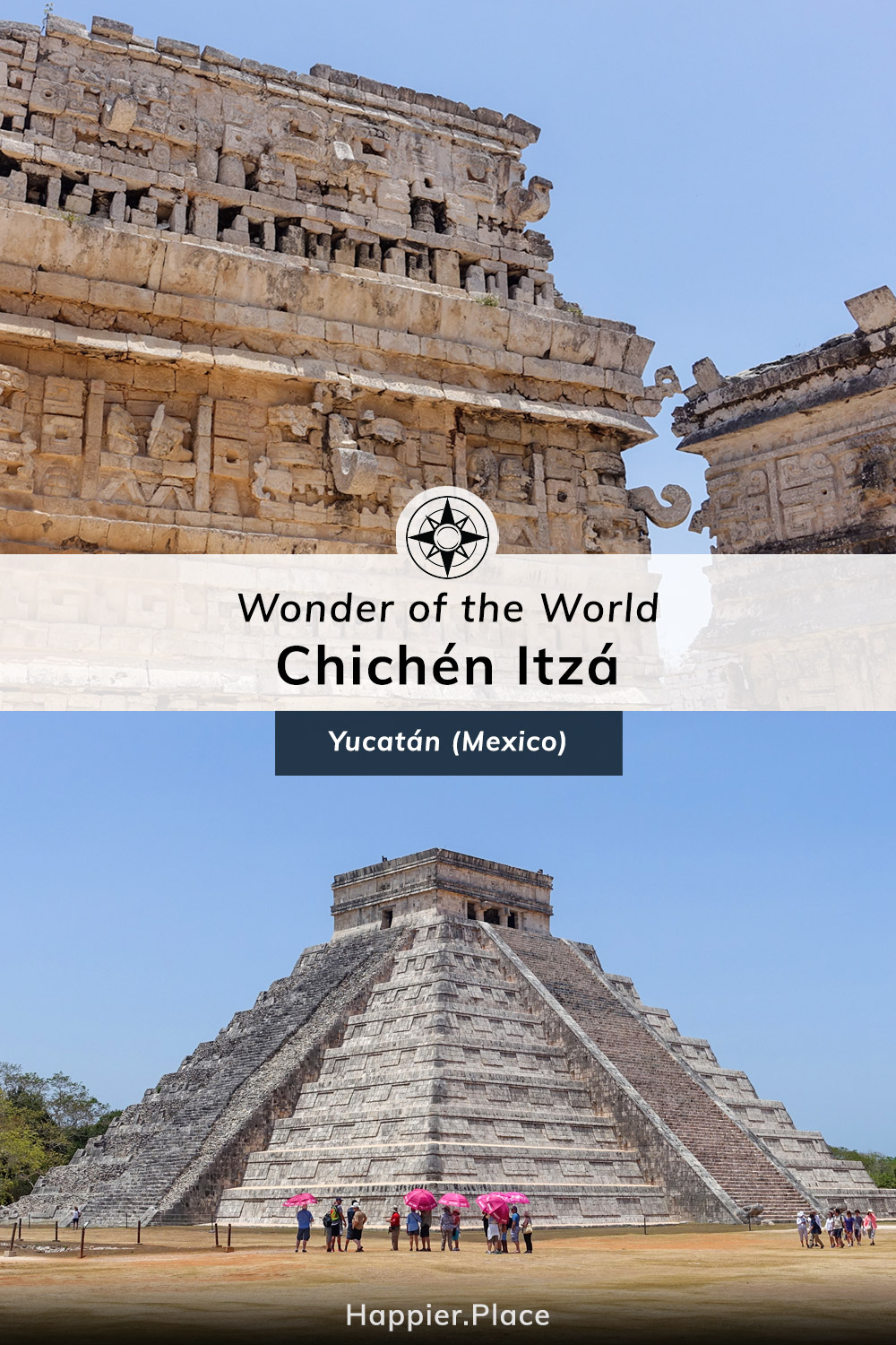 Wonder of the World, Chichen Itza pyramid El Castillo, Temple of Kukulkan, La Iglesia, Las Monjas Group, Yucatan, Mexico, Happier Place