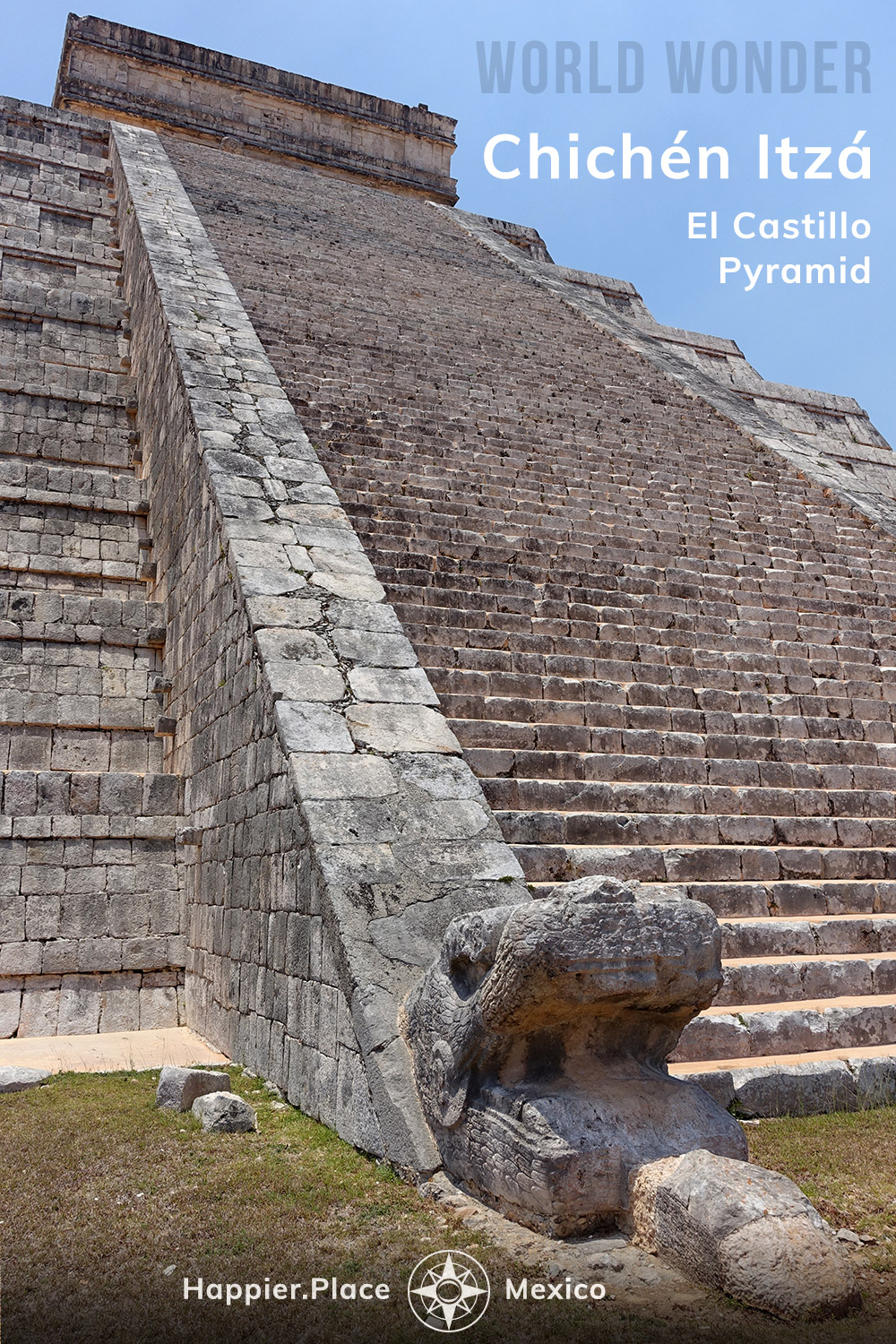 World Wonder and UNESCO Heritage Site: El Castillo pyramid in Chichen Itza, Mayan ruins in Yucatan, Mexico. Serpent and stairs lead up to Temple of Kukulcan, the Maya serpent deity.  #HappierPlace #Mexico #WorldWonder #bucketlist #pyramid #travelguide #outdoors