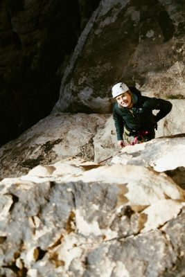 Danielle embracing challenge in Red Rocks Canyon, Nevada