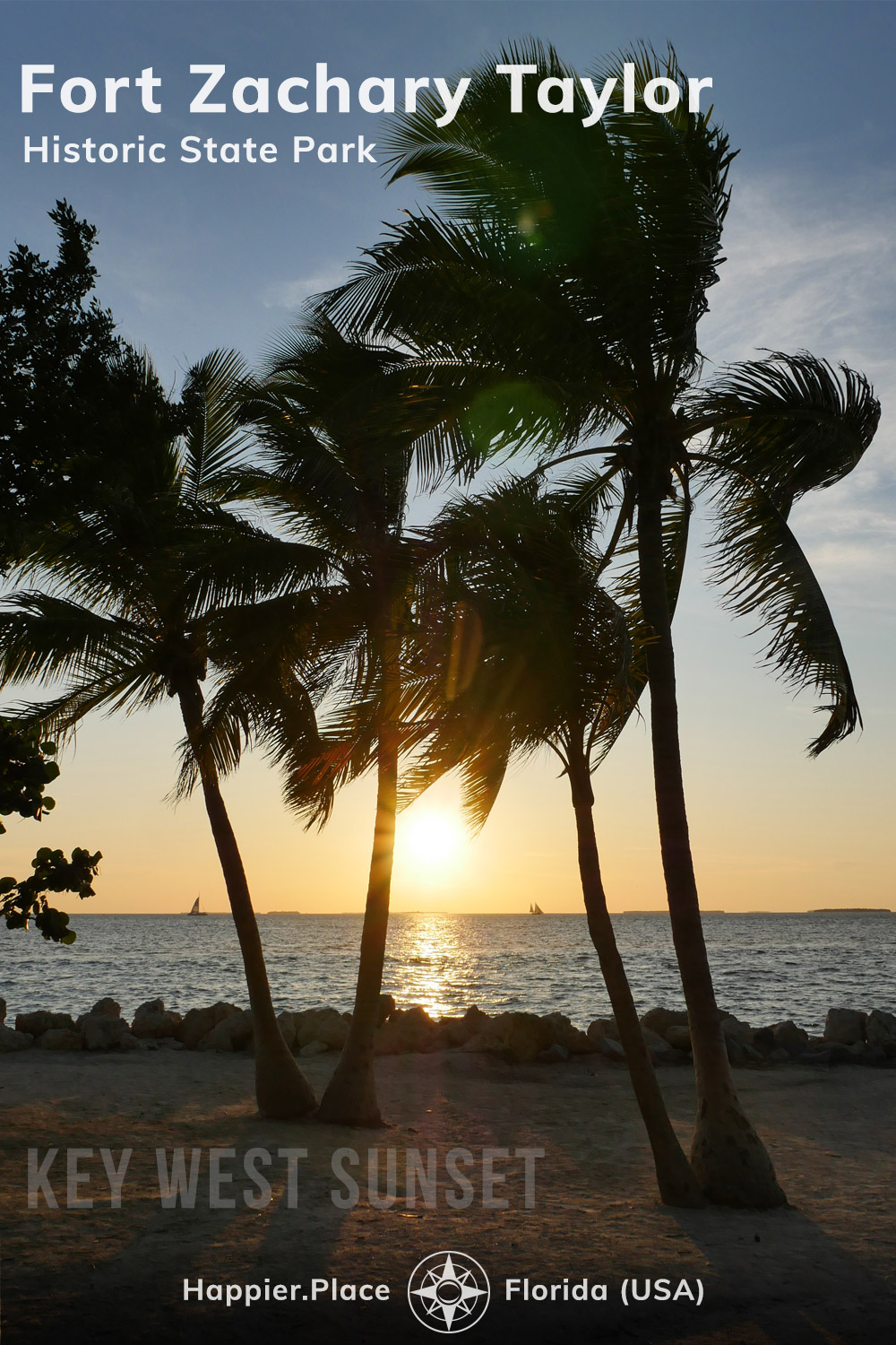 Key West Sunset through wind-swept Palm Trees at Fort Zachary Taylor Historic State Park, Happier Place, Florida