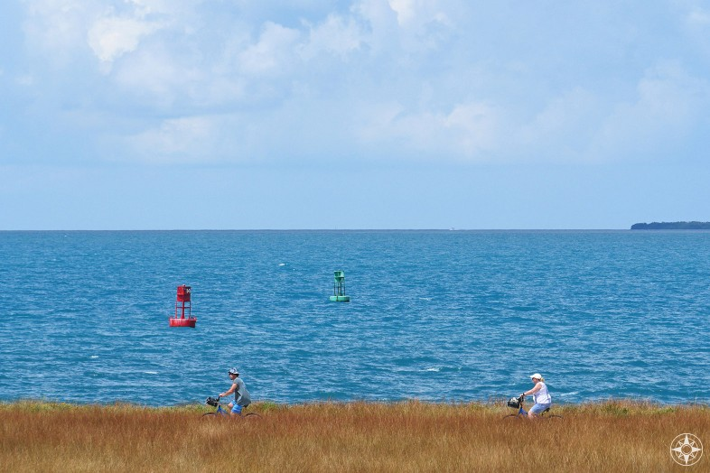 Biking along the shore of Key West, view from Fort Zachary, red and green channel markers 14 and 15, Florida Keys