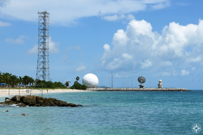 Spying on the spies, Cuba listening station on Key West next to military beach next to Fort Zachary Taylor Park beach, Key West, Florida