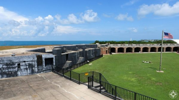 View from Fort Zachary Taylor of buildings and sea beyond