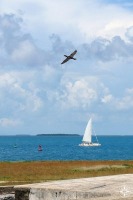 Classic view from Fort Zachary Taylor: cormorant flying above sailboat, channel marker, and the sea with another key at the horizon.
