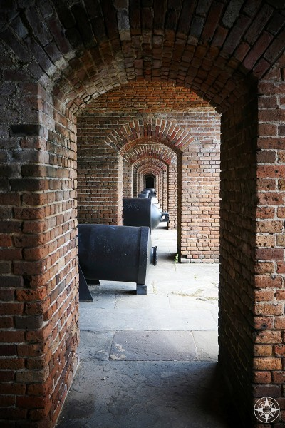Canons all lined up inside Fort Zachary Taylor in the Florida Keys