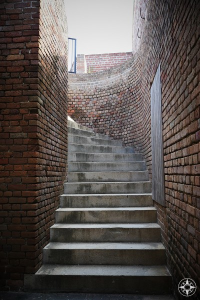 Curved stairs inside civil war era Fort Zachary Taylor