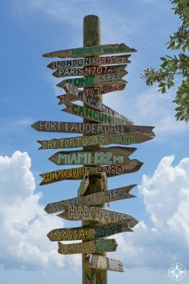 Iconic, famous, wooden direction signs with cities and distances in miles, Miami, Ft. Lauderdale, London, Rome, Paris, Habana, Fort Lauderdale - on Key West, Fort Taylor Park