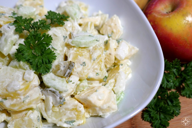 Best Northern German Potato Salad with apple and cucumber - Happier Place