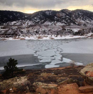 Ice on Horsetooth Reservoir - Colorado winter