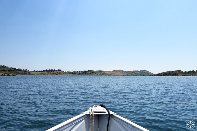 Boat point of view crossing Colorado lake
