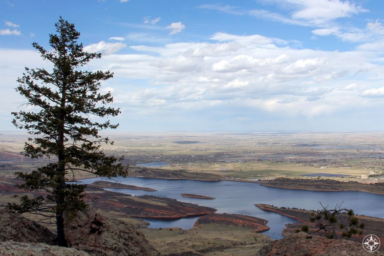 Pine tree on Arthur's Rock above Horsetooth Reservoir and Ft. Collins, birds-eye-view, Colorado, Happier Place
