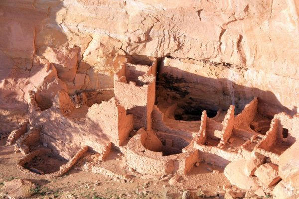 Detail of Square Tower House complex buildings in Mesa Verde National Park.