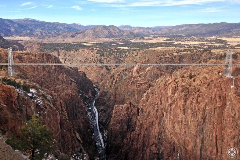 Royal Gorge Bridge spans the Royal Gorge in Colorado high above the Arkansas River