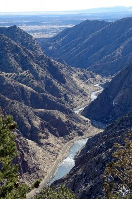 Arkansas River at the bottom of the Royal Gorge as it widens towards a more open landscape. Colorado, Canon City