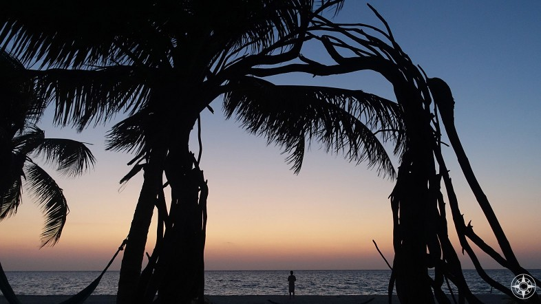 Waiting for the sun to rise on the beach of Xamach Dos near Tulum, Mexico.