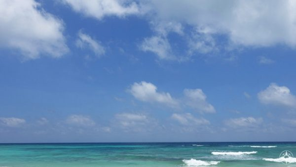 The Caribbean Sea on the east coast of the Yucatan Peninsula.