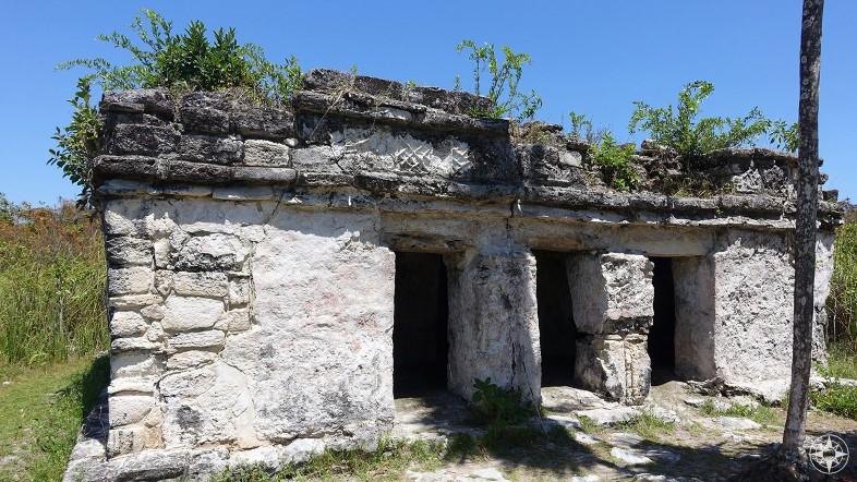 Ancient Maya structure along a Maya trade canal in Sian Ka'an near Tulum, Mexico.