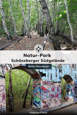 Nature takes over train tracks, graffiti covers walls with view of forest, Berlin Natur-Park Schoeneberger Suedgelaende, Happier Place
