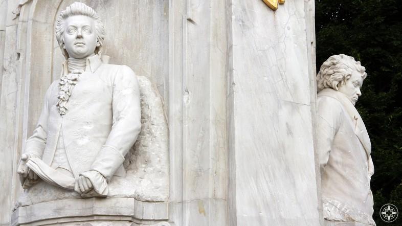 Mozart and always-grumpy-looking Beethoven, statue, Tiergarten, Berlin, Germany.