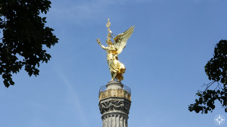 "The ""Goldelse"" atop the Siegessäule (Victory Column) stands in a big roundabout in the middle of Tiergarten."