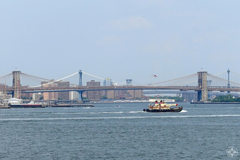 View from Staten Island Ferry of boats on East River, Brooklyn Bridge, Manhattan Bridge, Williamsburg Bridge, Manhattan, helicopter, NYC, HappierPlace