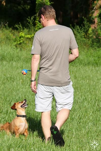 Happier Place logo, grey t-shirt, man, happy dog, chuckit, Scott, Whiskey Dog