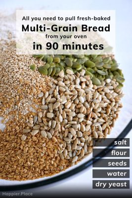 flax, sesame, sunflower, pumpkin seeds, flour, yeast, salt in bowl - all you need to pull fresh-baked multi-grain bread from your oven in 90 minutes