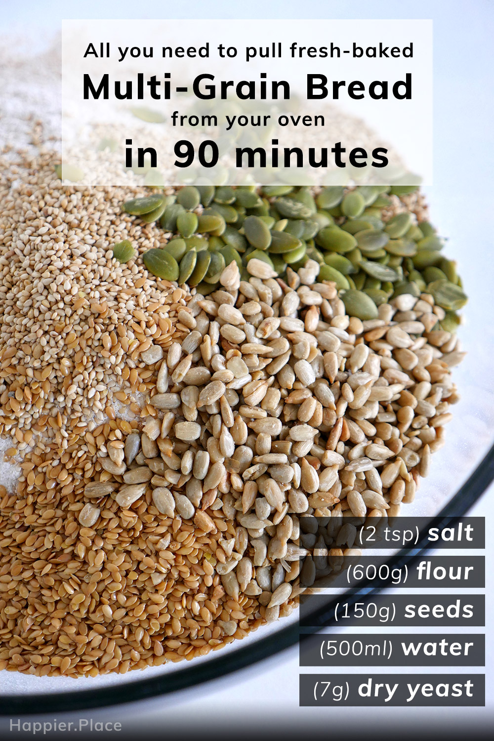 flax, sesame, sunflower, pumpkin seeds, flour - all you need to pull fresh-baked multi-grain bread from your oven in 90 minutes, with measurements