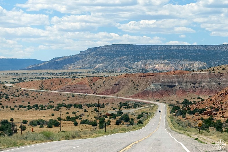New Mexico road from the village of Abiquiú to Ghost Ranch made famous by artists Georgia O'Keeffe and Ansel Adams.