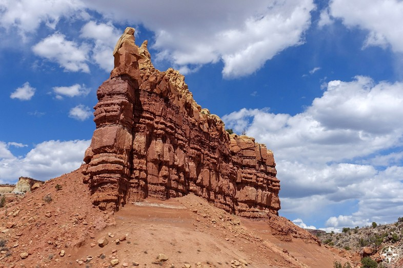 Sentinel rock wall along Highway US-84 close to Ghost Ranch in New Mexico.