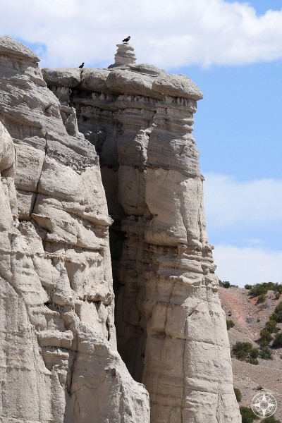 Black birds atop white rock pillars in Plaza Blanca - a place often painted by Georgia O'Keeffe, who lived nearby in Abiquiu, New Mexico.