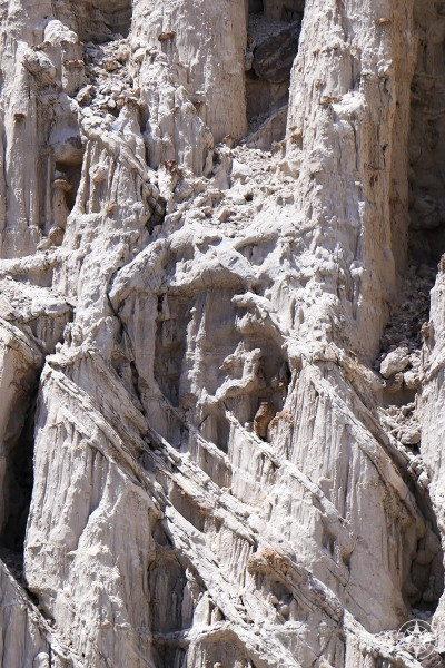 Detail of white rock formation in Plaza Blanca, New Mexico.