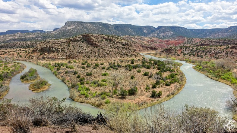 View of Rio Chama along the road from Abiquiu to Ghost Ranch, popular with Ansel Adams and Georgia O'Keeffe