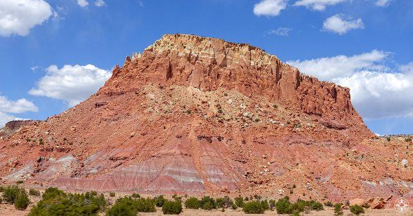 Red rock formation on the Road to Ghost Ranch New Mexico