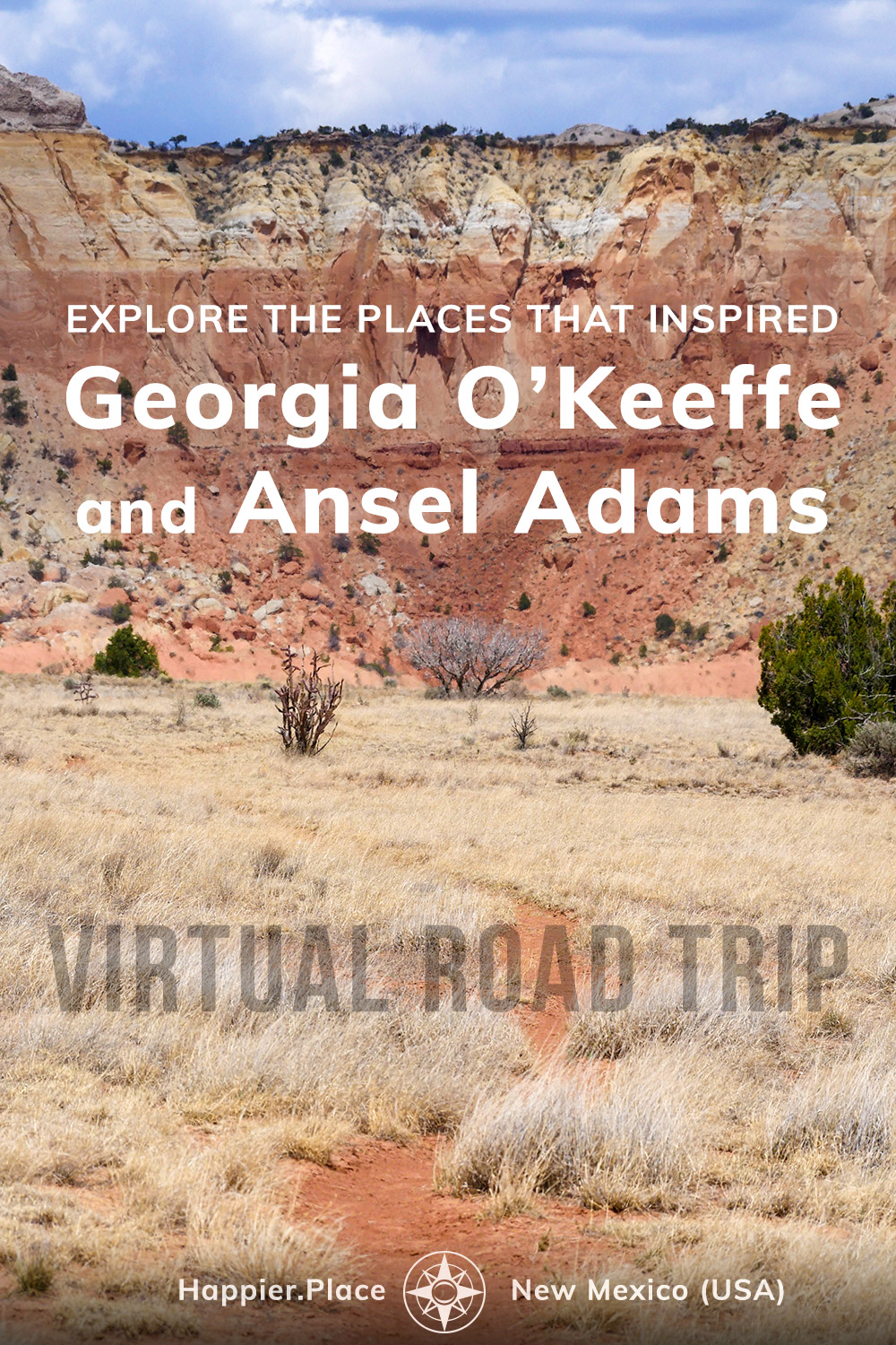 explore the places that inspired georgia o'keeffe and ansel adams, new mexico, virtual road trip, happier place, ghost farm, trail, red rocks
