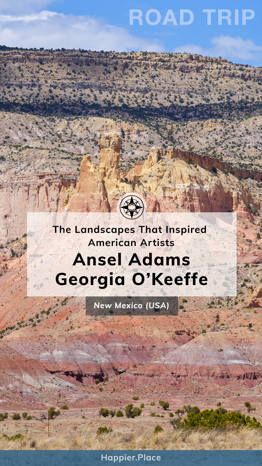 Road Trip through the landscapes that inspired American Artists Ansel Adams and Georgia O'Keeffe in New Mexico, USA, Chimney Rock, Ghost Ranch, Happier Place