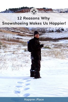 Happy man snowshoeing with drink, 12 Reasons why snowshoeing makes us happier - snow, colorado, happier place