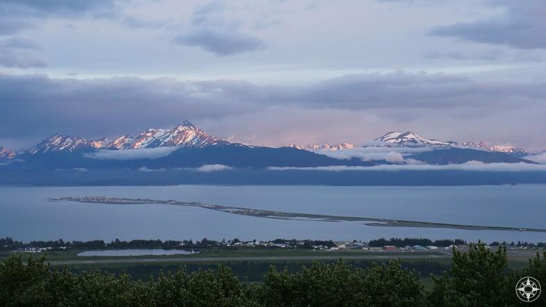 Homer Spit from above, evening, sunset, Kachemak Bay, Alaska