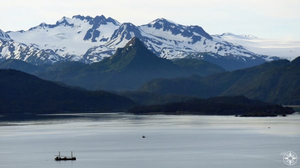 China Poot Peak, baby, boat, snow, green, Kachemak Bay, Alaska