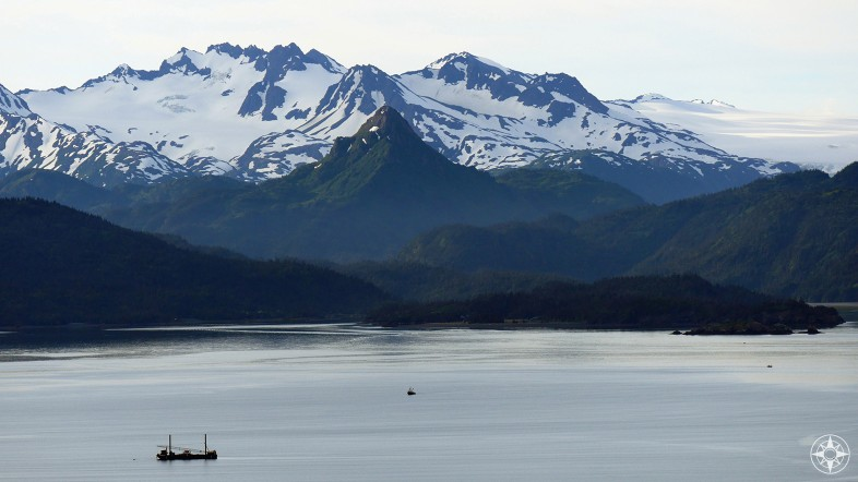 China Poot Peak, baby, boat, snow, green, Kachemak Bay, Alaska