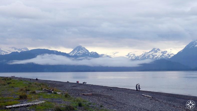 People dancing on the beach, Homer Spit, Kachemak Bay, Alaska