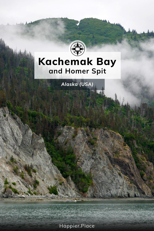 Kachemak Bay and Homer Spit, Alaska, USA, cliffs, forest, cloud
