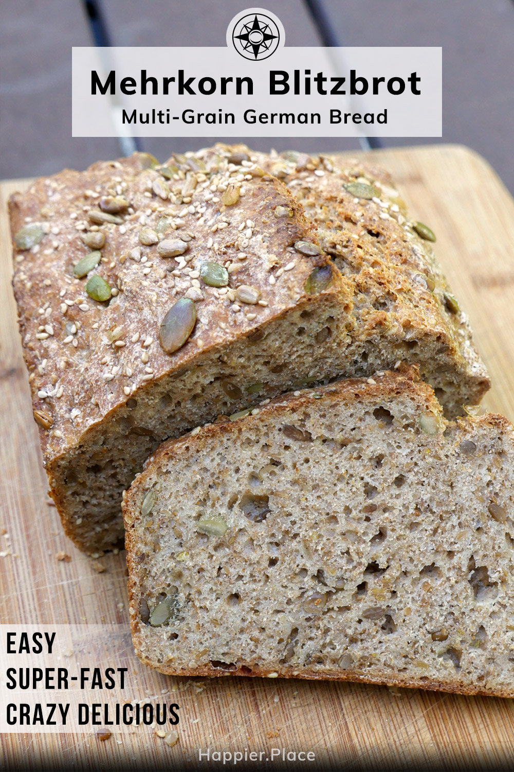 Bake at home Mehrkorn Blitzbrot, easy fast delicious multi-grain, multi-seed, wholewheat German bread from Happier Place
