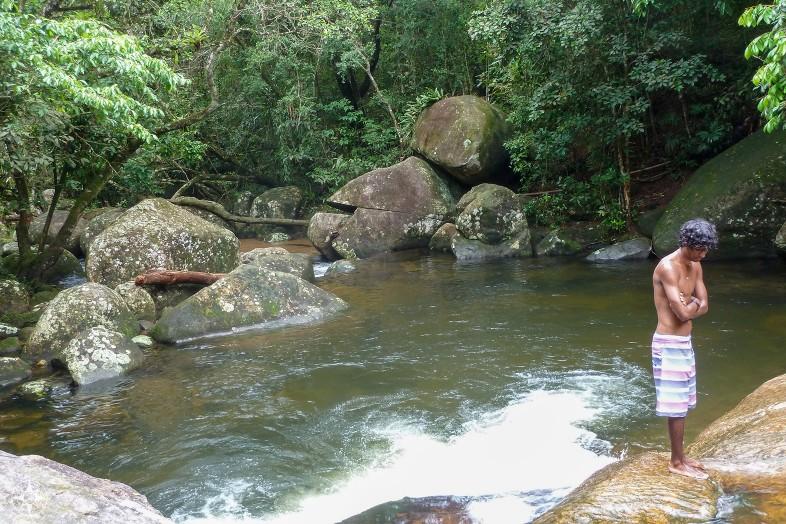 young man, waterfall, swimming trunks, Brazil
