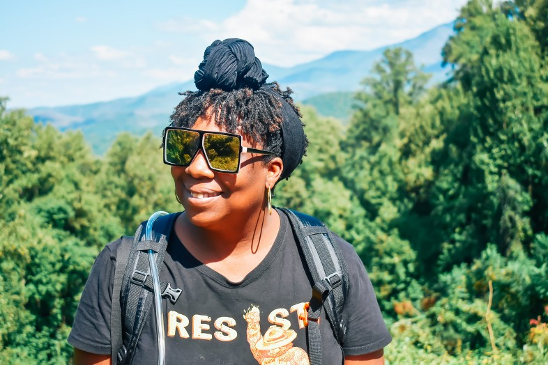 Lauren Gay Outdoorsy Diva hiking in Smoky mountains, woman resist bear shirt