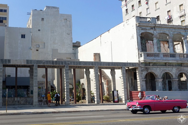 open space restaurant, pink classic car, Malecon, Havana, Cuba
