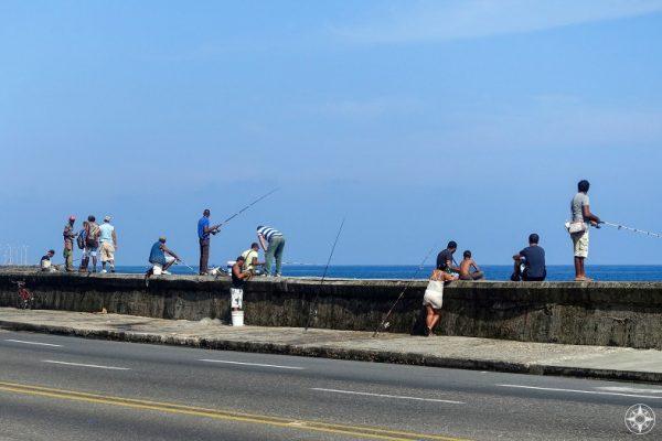 Fishing from the Malecón Seawall, Malecon, Havana, Cuba