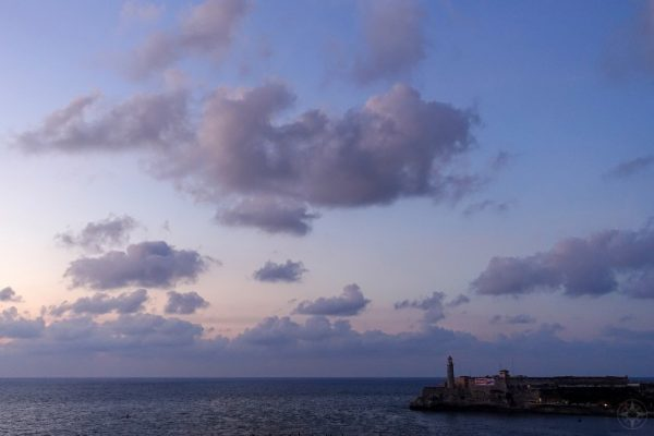 Clouds and open sea during Blue Hour, right after sunset at the Morro Castle Lighthouse
