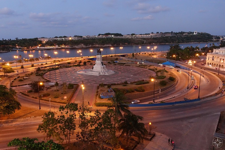 Evening at Parque Martires del 71 (Martyrs of '71 Park) and Maximo Gomez monument and entrance to the Havana Harbor, Cuba.