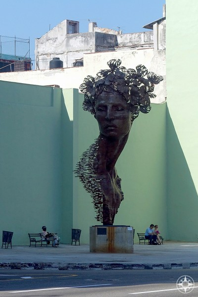 Large-scale female bust sculpture, called Primavera (Spring), created by Rafael San Juan on the corner of Galiano Street and the Malecon, Havana